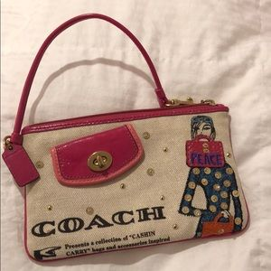 Coach beaded wristlet with coin pouch